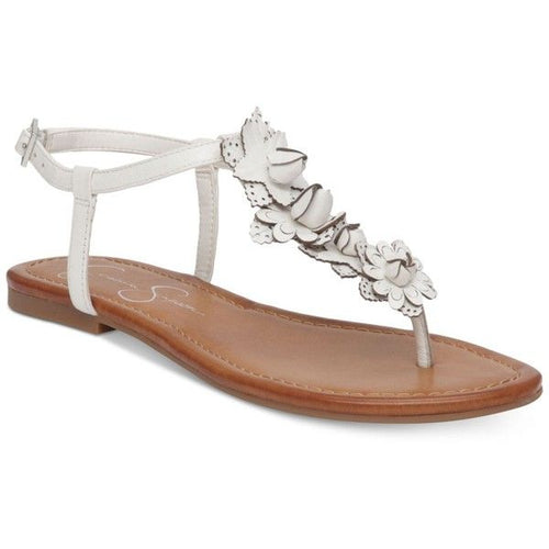 Jessica Simpson Womens Kiandra Detailed T-Strap Flat Sandals (Powder, 7)
