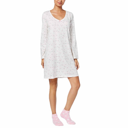 Charter Club Women's Graphic-Print Cotton Sleepshirt with Matching Socks