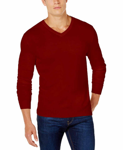 Club Room Mens V-Neck Cotton Sweater ( Maraschino,XL)
