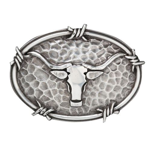 Ariat Mens Oval Steer Head Motif Silver Belt Buckle