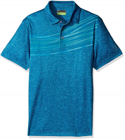 PGA Tour Mens Pro Series Short Sleeve Polo Shirt(Moroccan Blue,S)