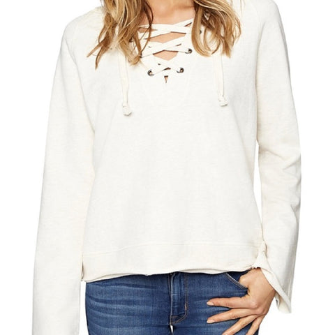 Sanctuary Womens Bailey Lace Up Front Hoodie (Heather White, Large)