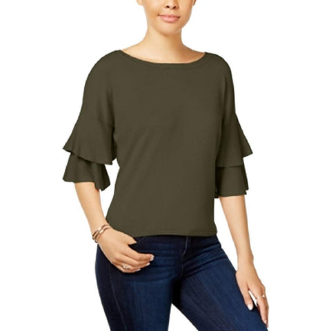 Hooked Up by IOT Juniors Double-Ruffle Bell-Sleeve Top (True Olive, Medium)