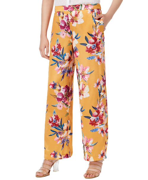 Bar III Womens Floral-Print Pull-On Wide-Leg Silhouette Pants