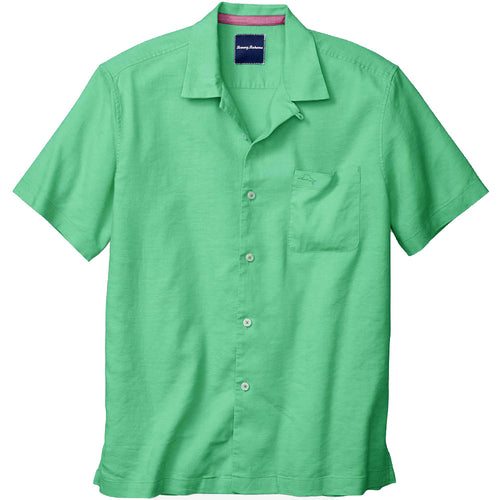 Tommy Bahama Mens Monaco Tides Short Sleeve Linen Camp Shirt (Jade Isle, Large)