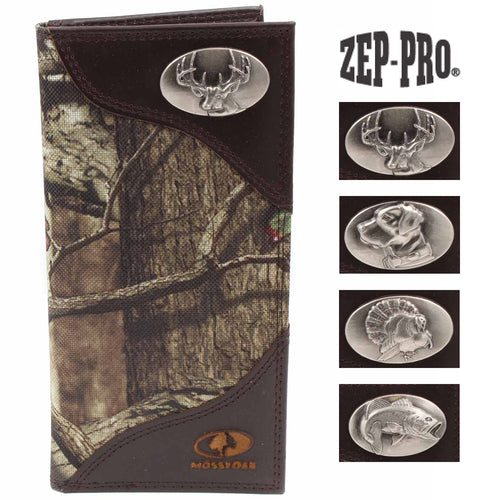 ZEP-PRO Mens Mossy Oak Nylon/Leather Wildlife Concho Wallet
