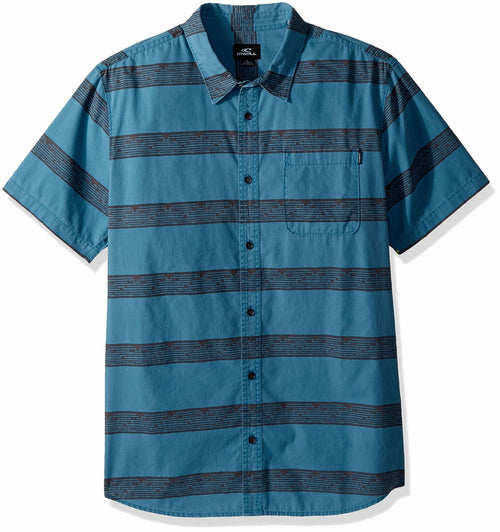 Oneill Mens Casual Modern Fit Short Sleeve Woven Button Down Shirt,(Teal,Small)