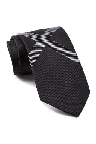 Kenneth Cole Reaction Silk Cross Panel Tie (Black)