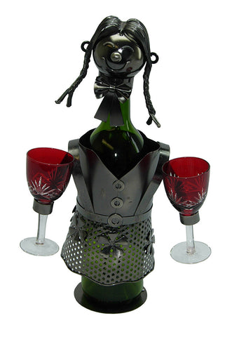 Chef and Waitress Themed Recycled Metal Wine Bottle Holders