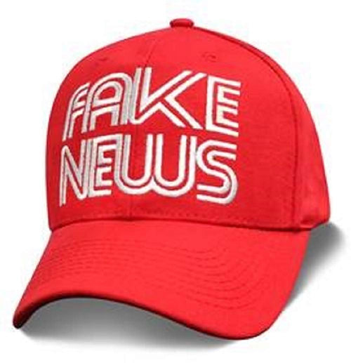 Fake News Embroidered Adjustable Six Panel Baseball Cap (Red, One Size)
