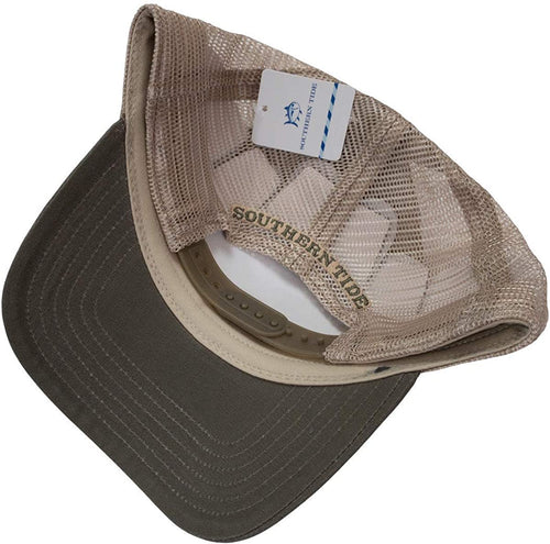 Southern Tide Mens Mesh Snapback Adjustable Trucker Hat (Dusty Olive, One Size)
