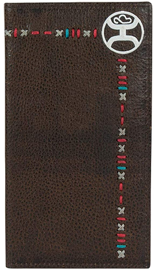 Hooey Mens Leather Signature Logo Rodeo Wallet (Chocolate Brown/Multicolored)