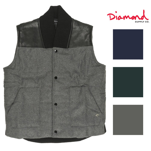 Diamond Supply Co Mens Mined Woolen Puffer Vest