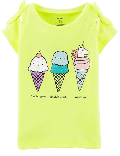 Carter's Toddler Girls 2 Pack Tee Shirts Unicorn Ice Cream (Yellow/Pink18M)