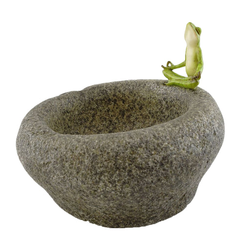 Top Collection Garden Frog Meditating On Large Functional Stone Flower Pot