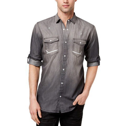 INC International Concepts Men's Destroyed Denim Utility Shirt