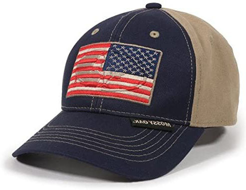Outdoor Cap Unisex-Adult American Flag Adjustable Strap Back Hat , Navy/Khaki