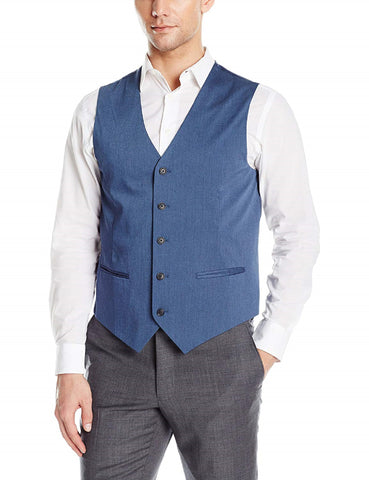 Perry Ellis Mens Classic-Fit Chambray Vest