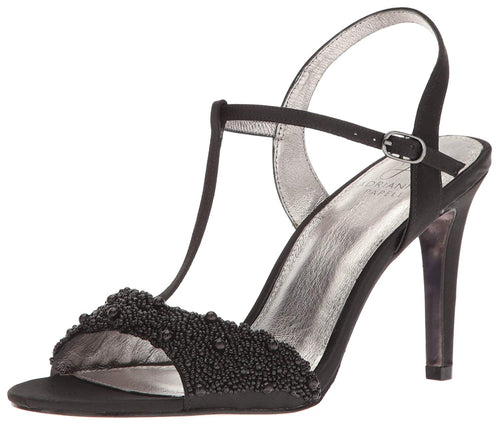 Adrianna Papell Womens Alia T-Strap Beaded Evening Sandals (Black, 8.5 M)