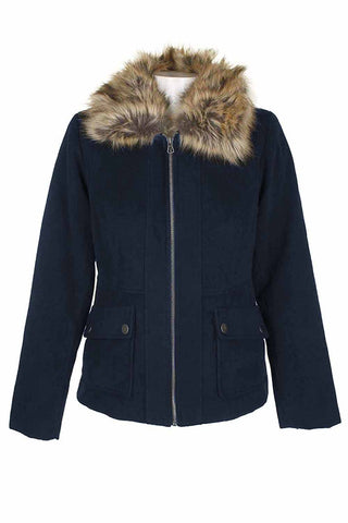 Maralyn & Me Juniors Faux-Fur-Collar Utility Pocket Jacket (Navy, Medium)