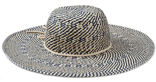Tommy Bahama Womens Toyo Straw Wide Brim Beach Hat (Natural/Navy, One Size)