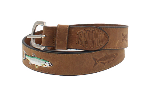 ZEP PRO Mens Silver Buckle Embossed Leather and Embroidered Tarpon Belt