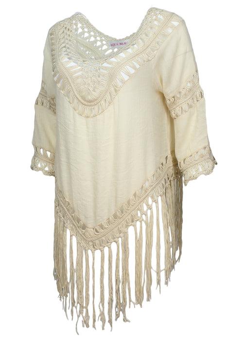 Aqua Beach Womens Crochet Cover Up Top with Fringe (Ivory, One Size)