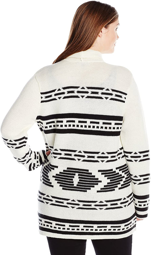 BB Dakota Womens Plus-Size Amya Patterned Cardigan Sweater, Dirty White