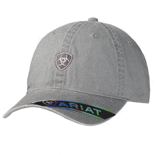 Ariat Women Embroidered Shield Logo Patch Adjustable Baseball Cap(Grey,One Size)