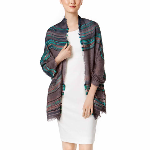 INC International Concepts Womens Multi Texture Wrap (Grey, One Size)