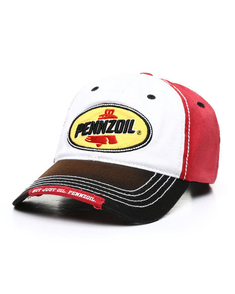 Pennzoil Mens Unconstructed Adjustable Snap Back Ball Cap (Red/Black, One Size)