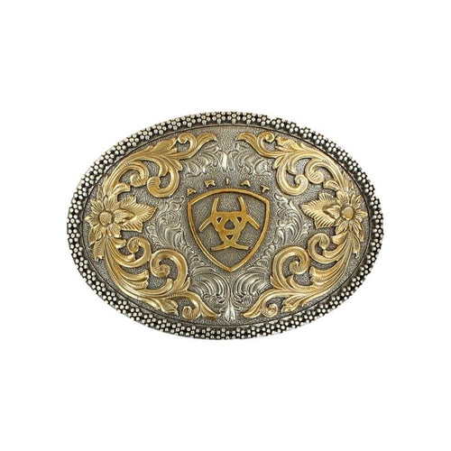 Ariat Mens Oval Floral Filigree Belt Buckle (Silver and Gold)