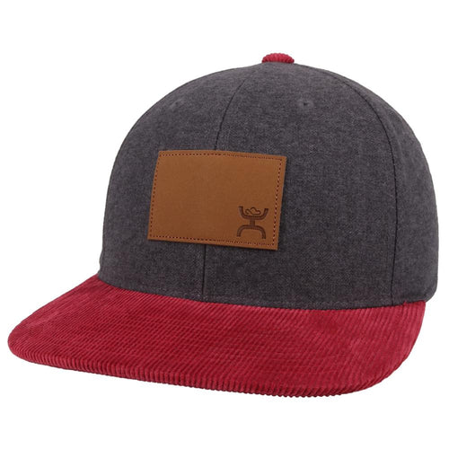 Hooey Mens Steezy Adjustable Snapback Hat w/Leather Patch (Grey/Red, One Size)