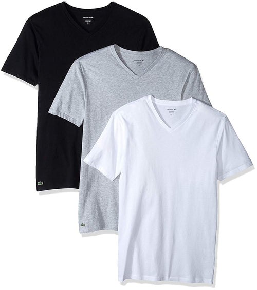 Lacoste Men's 3-Pack Essentials Cotton Classic Fit V-Neck T-Shirt