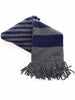 Coach Mens Vicuna Knit Wool Cashmere Striped Scarf (Light Grey, One Size)