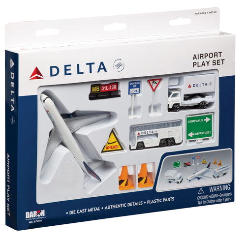 Daron Delta Airlines Die Cast Metal Airport Play Set