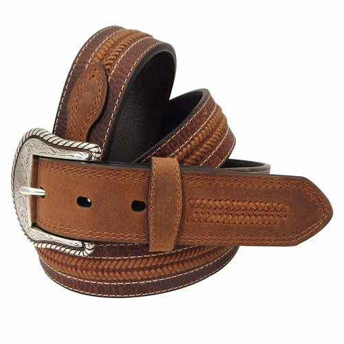 Roper Mens Laced Distressed Leather Belt (Brown, 38)
