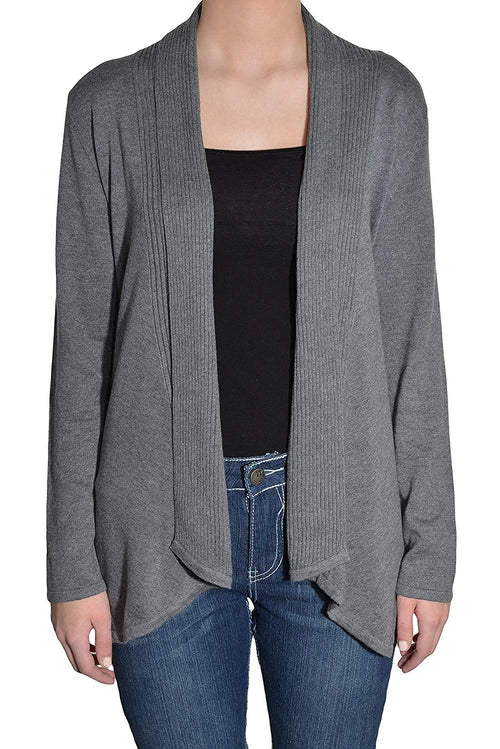 Fever Womens Asymmetrical Open Front Cardigan Sweater