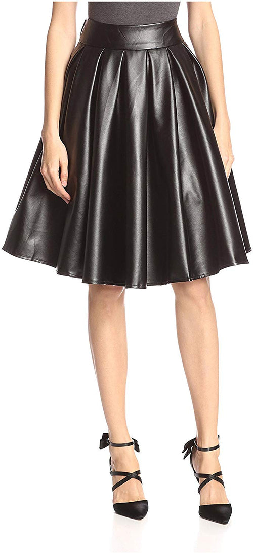 Gracia Womens Faux Leather Full Skirt With Waist Tie, Black