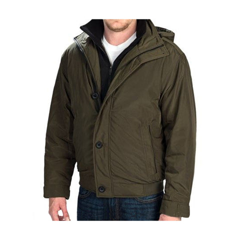Weatherproof Mens Ultra Oxford Hooded Bomber Jacket (Dill, XX-Large)