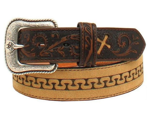 Ariat Mens Embossed Leather Cross Stitched Tabs Western Belt