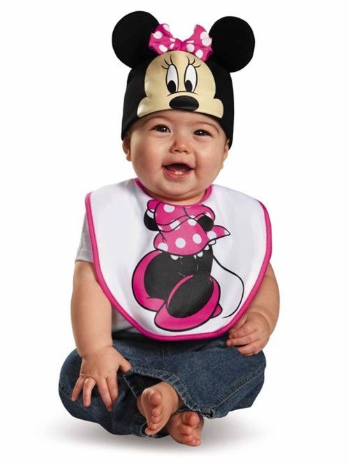 Disguise Baby Girl's Disney Pink Minnie Mouse Infant Bib & Hat Costume