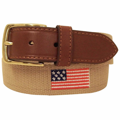 Danbury Mens Khaki Woven American Flag Canvas and Leather Belt