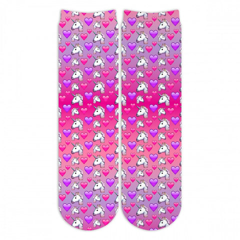 Sublime Designs Adult Fun Printed Crew Socks-Emoji 2.0 Unicorn Emojis