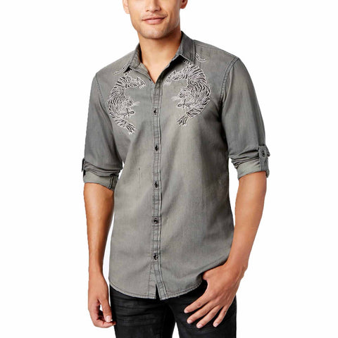 INC Men's Embroidered Bengal Tiger Button-Up Shirt (Black Wash, X-Large)