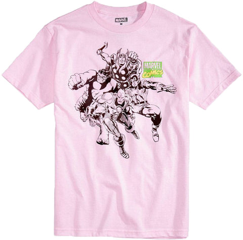 C-Life Mens Marvel Comic Graphic Print T-Shirt (Pastel Pink,XX-Large)