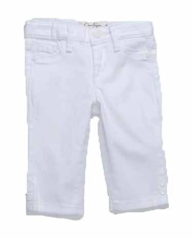 Jessica Simpson Girls Kiss Me Twill Skinny Snap Crop Pant (White, 4)