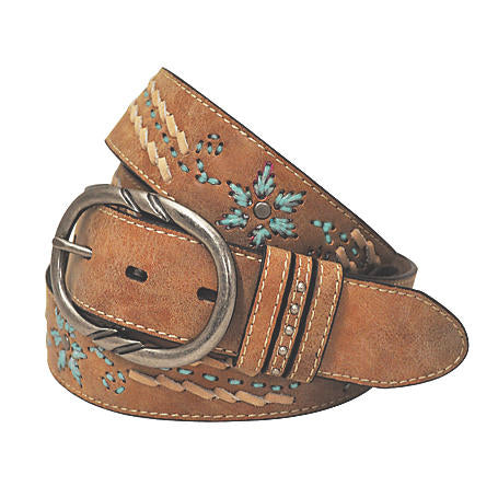 Roper Womens Cowgirls Rock 38mm Contrast Stitch And Lacing Detailed Leather Belt