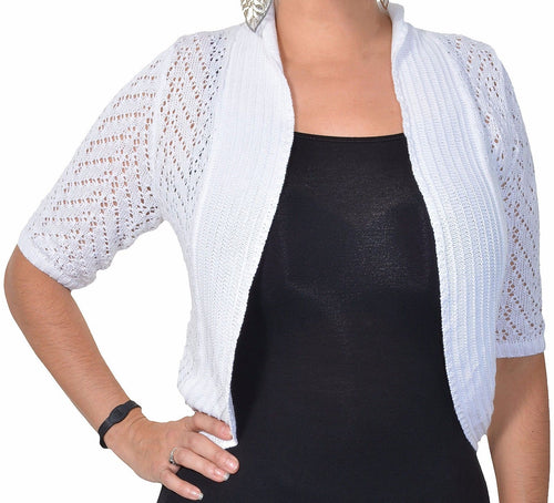 Leo and Nicole Womens Pointelle Knit Shrug Cardigan Sweater