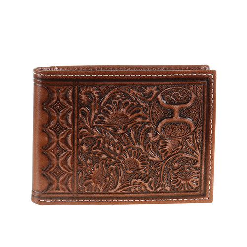 Hooey Mens Leather Scalloped Floral Tooling Bifold Flip Wallet, Chestnut Brown